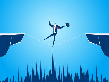 Businessman walking tightrope across the gap between hill. Business risk and success concept cartoon vector illustration.