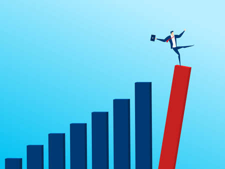 Businessman with falling down trend graph for bankruptcy concept cartoon Vector illustration.