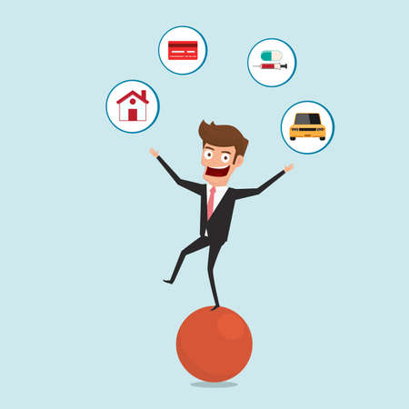 Businessman balancing on sphere and juggling finance debt icons. Financial and money management concept. Cartoon Vector Illustration. Illustration