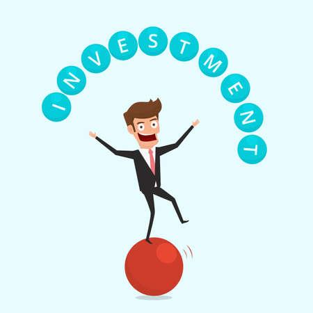 Businessman balancing on sphere and juggling investment finance Illustration