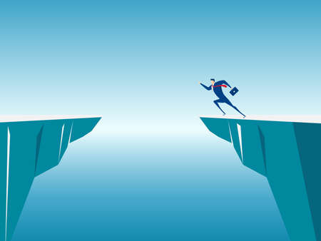 conquering adversity: Businessman jump through the gap obstacles between hill to success. Running and jump over cliffs. Business risk and success concept. Cartoon Vector Illustration.