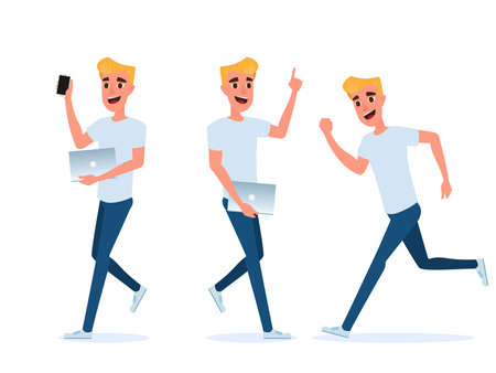 Set of young man character design. Young man with smart phone and laptop. Technology concept. Cartoon Vector Illustration.