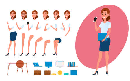 computer animation: Business woman character creation set for animation. Parts body template. Different emotions, poses and  running, walking, standing, sitting. Cartoon Vector Illustration.