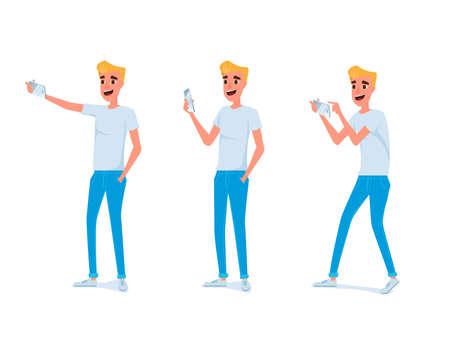 Set von jungen Mann Charakter Design. Junger Mann fotografiert mit Smartphone in verschiedenen Posen. Cartoon Vektor-Illustration. Standard-Bild - 83871181