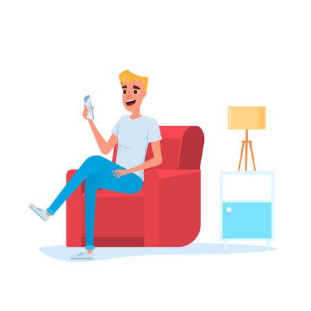Freelancer. Man using smart phone on sofa in living room relax online activity, social media, chatting. Internet communication concept. Cartoon Vector Illustration.