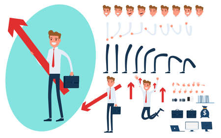 Businessman character creation set for animation. Parts of body template.Businessman Holding growing graph to success concept. Different emotions, poses and  running, walking, standing, sitting. Cartoon Vector Illustration.