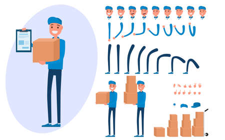 Courier character creation set for animation. Parts of body template.Delivery man holding boxes and documents. Different emotions, poses and running, walking, standing, sitting. Cartoon Vector Illustration.