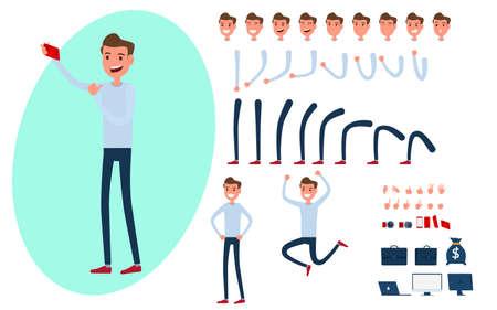 Junge Mann Charakter Schöpfung für Animation gesetzt.Junge Mann macht Fotos mit Smartphone in verschiedenen Posen. Teile-Körper-Vorlage. Verschiedene Emotionen, Posen und Laufen, Wandern, Stehen, Sitzen. Cartoon Vektor-Illustration. Standard-Bild - 84273818