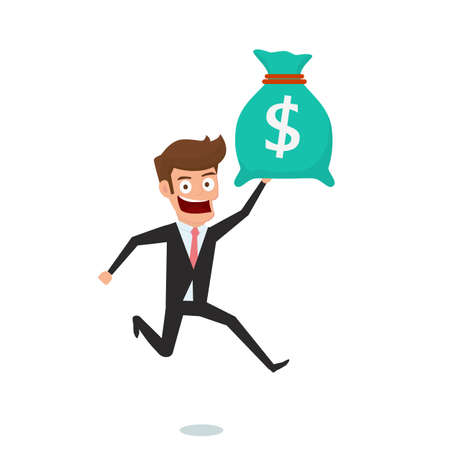 Businessman holding money bag. Concept of earnings money and get bonus. Cartoon Vector Illustration.