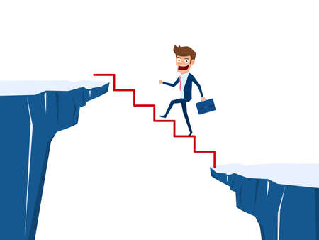 Businessman walking on stair to cross through the gap between hill. Stair step to success. Business risk and success concept. Cartoon Vector Illustration. Illustration