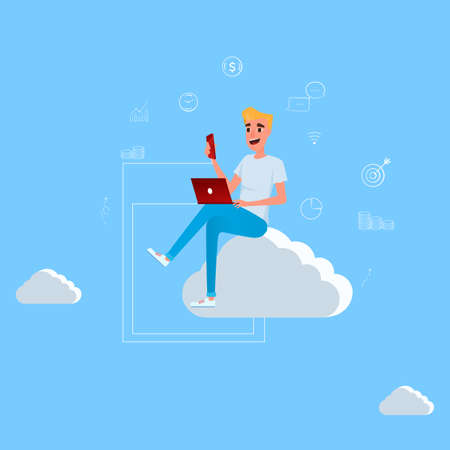 Young man sitting on the cloud working with laptop and smartphone. Concept of cloud computing technology and social network. Cartoon Vector Illustration.