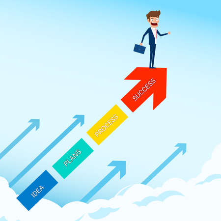 Businessman stand on arrow growth graph looking for success, opportunities, future business trends. Vision concept. Cartoon Vector Illustration.