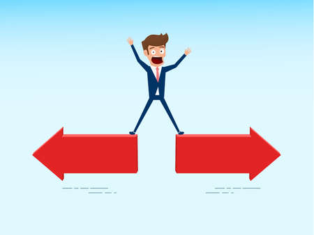 Indecisive businesman chooses right direction way. Concept of confused chooses the right path. Cartoon Vector Illustration.