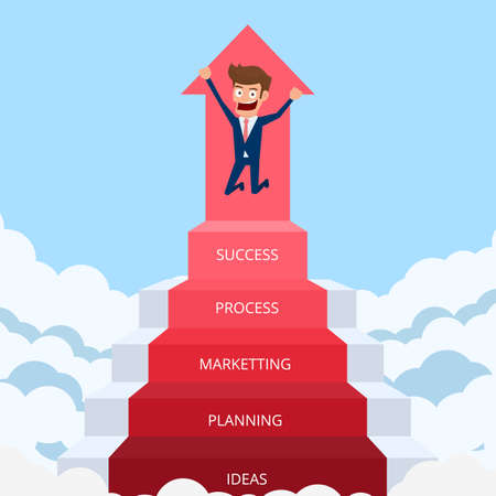 Businessman going up to success, staircase to success. Cartoon Vector Illustration.