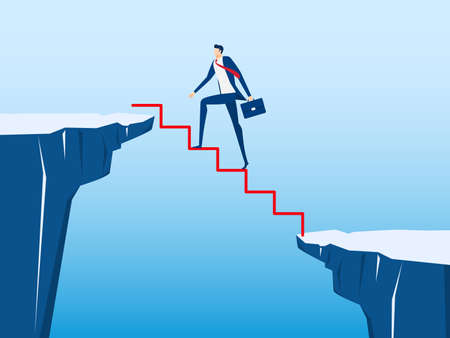 Businessman walking on stair to cross through the gap between hill. Stair step to success. Business risk and success concept. Cartoon Vector Illustration. Vectores