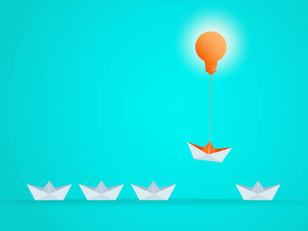 Outstanding the Boat rises above with light bulb idea. Business advantage opportunities and success concept. Uniqueness, leadership, independence, initiative, strategy, dissent, think different. Vector Illustration