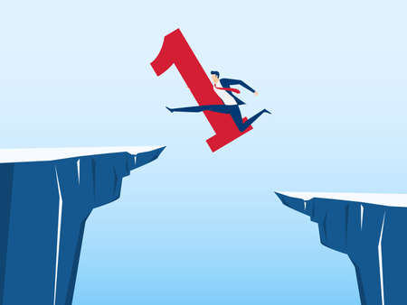 번호 하나 붉은 색 사업가 언덕 사이의 격차를 통해 이동합니다. 달리기와 절벽 위로 뛰어 오릅니다. 비즈니스 위험 및 성공 개념입니다. 만화 벡터 일