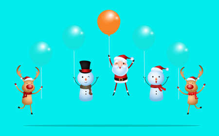 Outstanding santa claus rises above with balloon and reindeer snowman flying with balloon. Merry Christmas and happy new year. Cartoon Vector Illustration