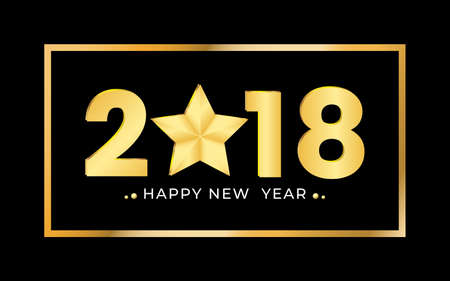 2018 Happy new year gold numbers design. Festive design template for holiday greeting card. Happy New Year gold shining banner. Vector Illustration. Illustration