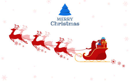 Red Silhouette. Santa claus flying with reindeer sleigh. Cartoon Vector Illustration. Illustration