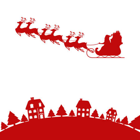 Red Silhouette. Santa claus flying with reindeer sleigh on sky to village. Cartoon Vector Illustration.