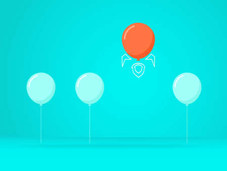 Outstanding the Balloon rises above with rocket. Business advantage opportunities and success concept. Uniqueness, leadership, independence, initiative, strategy, dissent, think different. Vector Illustration