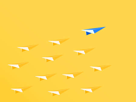 Leadership concept. Blue paper airplane leader standing out from the crowd. Business advantage opportunities and success concept. Vector Illustration