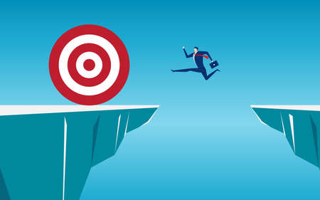 Businessman jump through the gap obstacles between hill to big target and success. Running and jump over cliffs. Business risk and success concept. Cartoon Vector Illustration. Illustration