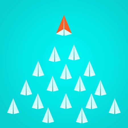Leadership concept. Orange paper airplane leader standing out from the crowd. Business advantage opportunities and success concept.