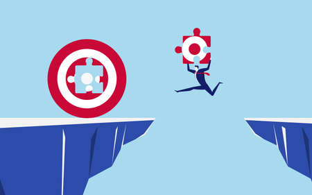 Businessman holds a part of the target jumping through the gap obstacles between hill to fill big target and success. Running and jump over cliffs. Business risk and success concept. Cartoon Vector Illustration.