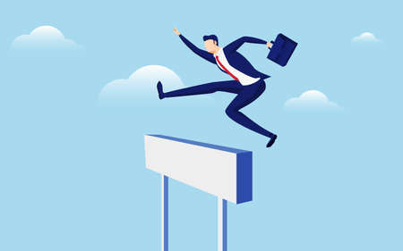 Overcome obstacles and success concept. Businessman holding briefcase jumping over hurdle race obstacle. Cartoon Vector Illustration Illustration