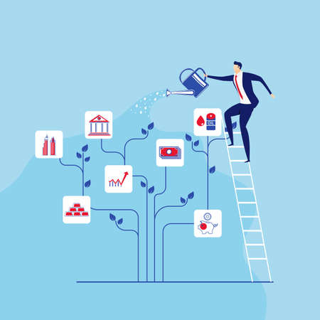 Businessman stands on stairs steps watering money tree. Concept of investment and increasing financial growth. Cartoon Vector Illustration. Ilustração