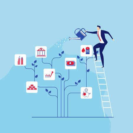 L'uomo d'affari sta sui punti delle scale che innaffiano l'albero dei soldi. Concetto di investimento e aumento della crescita finanziaria. Cartoon illustrazione vettoriale. Archivio Fotografico - 94818514
