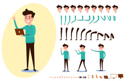 Freelance character creation set for animation. Set of guy in casual clothes in various poses. Parts body template. Different emotions, poses and  running, walking, standing, sitting. Cartoon Vector Illustration. Ilustracja