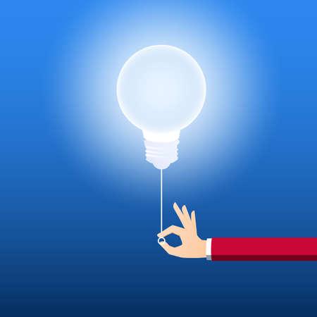Attiva il concetto di lampadina creativa. Uomo d'affari che tira interruttore della luce per accendere idea. Concetto di idea creativa. Cartoon illustrazione vettoriale.