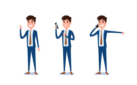 Young businessman character design. Set of guy acting in suit using smartphone ,talking via phone and making selfie in various poses happy emotional. Different emotions and poses. Cartoon Vector Illustration.