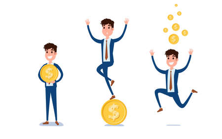 Young businessman character design. Set of guy acting in suit with money, Different emotions, poses and running, walking, standing, sitting. Cartoon Vector Illustration.