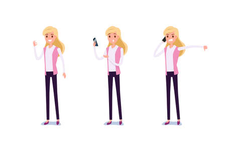 Young businessman character design. Set of business woman acting in suit using smartphone ,talking via phone and making selfie in various poses happy emotional. Different emotions and poses. Cartoon Vector Illustration.