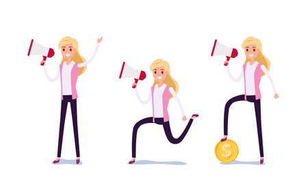 Young businessman character design. Set of business woman acting in suit working in office, Different emotions, poses and running, walking, standing, sitting. Cartoon Vector Illustration.