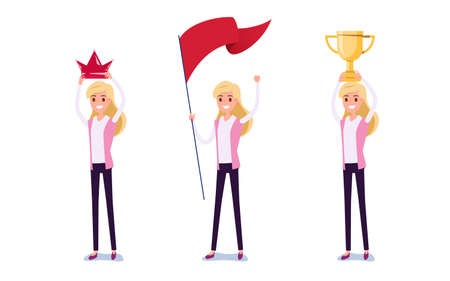 Young businessman character design. Set of business woman acting in suit holds crown, flag, trophy of success, Different emotions, poses and running, walking, standing, sitting. Cartoon Vector Illustration. Illustration