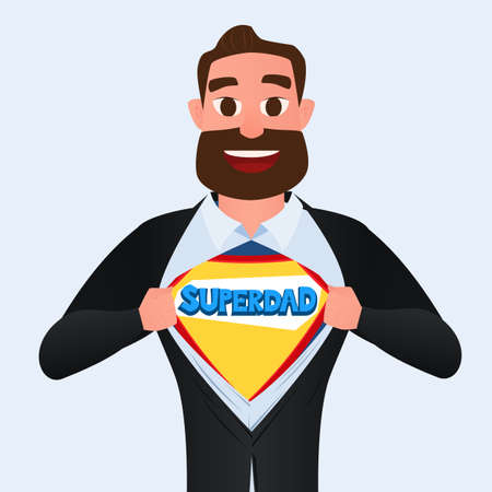 Happy Fathers Day. Man open shirt to show SUPER DAD. Cartoon Vector Illustration.
