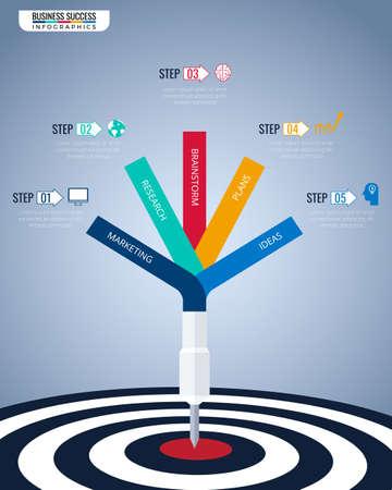 Étape vers le modèle d'infographie de concept d'entreprise de succès.