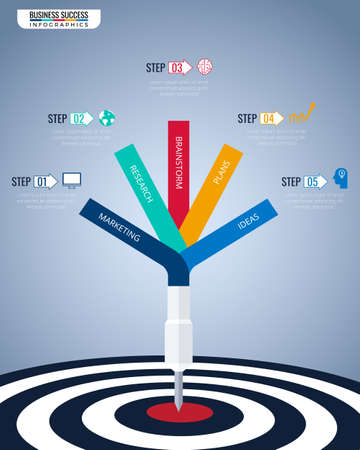 Step to success business concept infographic template. Vectores