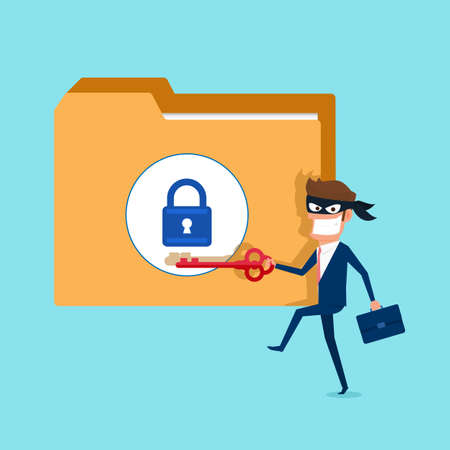 Thief. Hacker holds key stealing confidential data as passwords from a personal computer useful for anti phishing and internet viruses campaigns. Illustration