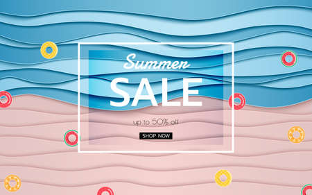 Summer banner sale. Top view blue sea and beach paper waves with fruits rubber ring. Paper cut style Vector Illustration.