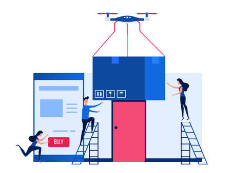 Concept of online shopping and drone delivery services. Technology shipment innovation. Cartoon Vector Illustration. Illustration