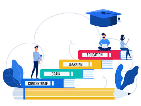 People stand on books stair steps levels of education. Education and knowledge concept. Cartoon Vector Illustration.
