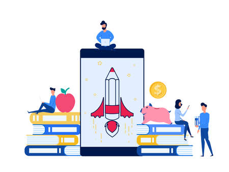 People use laptop, smartphone to learn e-learning online education. Education and knowledge online training courses, specialization concept. Cartoon Vector Illustration.
