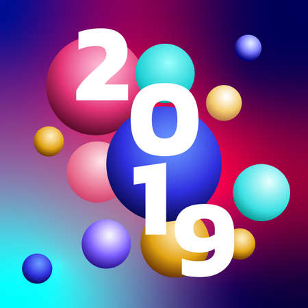 3D design 2019 Happy new year colorful bubble design.  Festive premium design template for holiday greeting card. Happy New Year colorful banner. Vector Illustration.