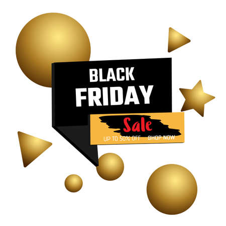 3D design Black friday sale banner. Bubble and banner on white background. Vector Illustration. Иллюстрация